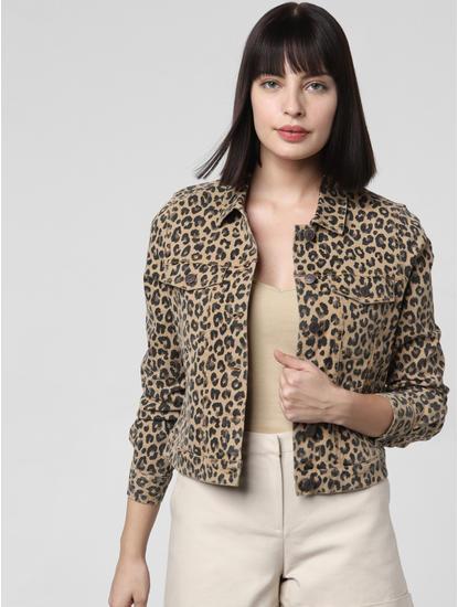 Leopard Print Denim Jacket