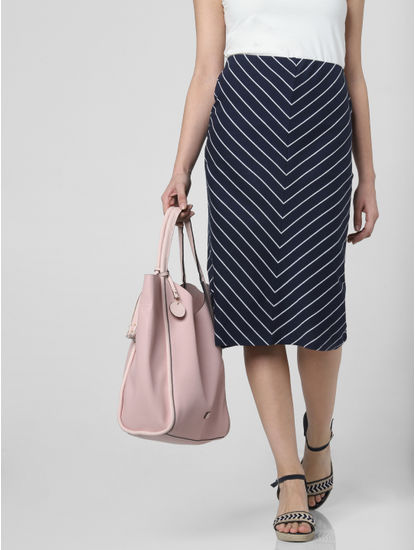 Dark Blue Striped Midi Skirt