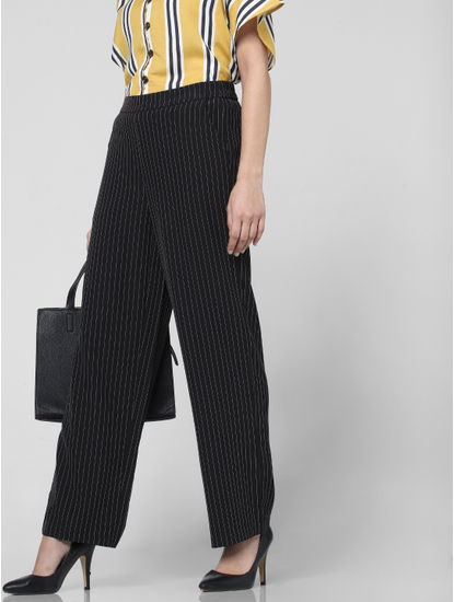 Black High Waist Printed Pants