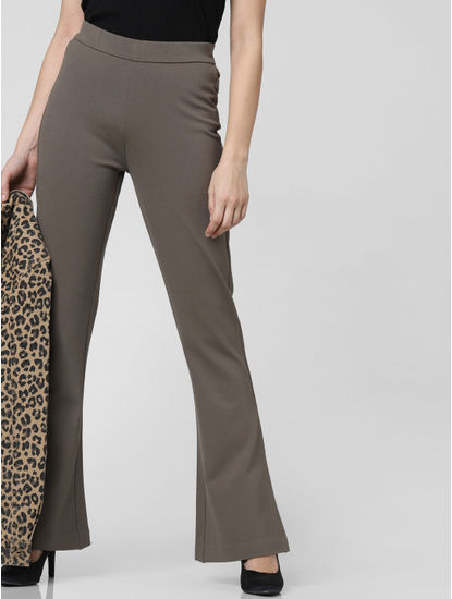 Grey High Waist Flared Pants