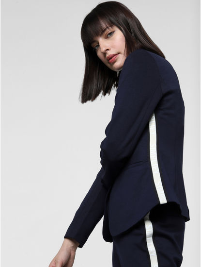 Dark Blue Tape Detail Short Blazer
