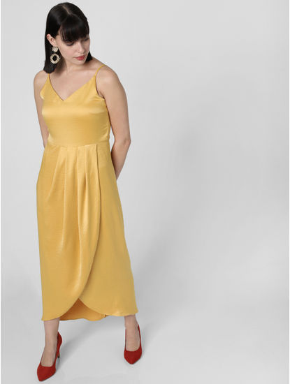 Yellow Satin Wrap Midi Dress