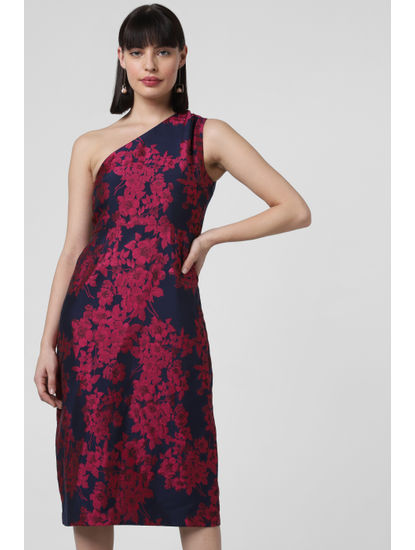 Dark Blue Floral Print Midi Dress