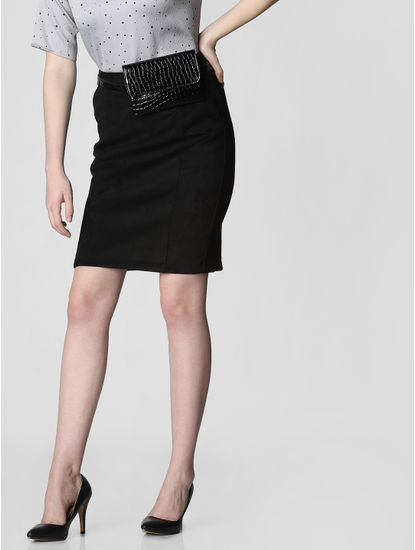 Black Mid Rise Suede Pencil Skirt