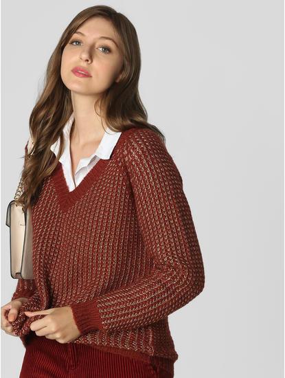 Dark Brown Textured Pullover