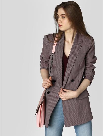Dark Pink Check Tailored Blazer