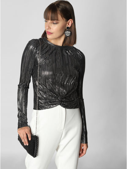 Silver Front Twist Top