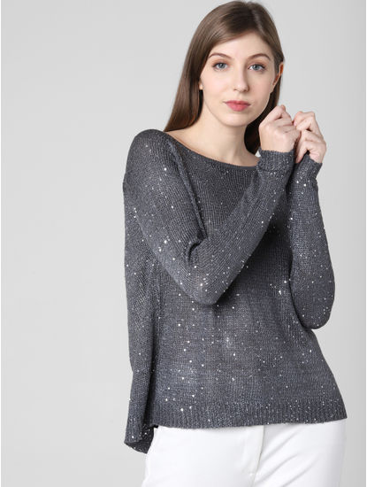 Grey Shimmer Cut Out Top