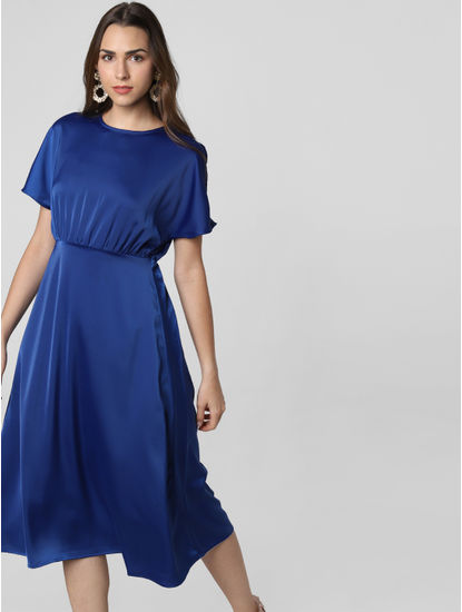 Blue Satin Midi Dress