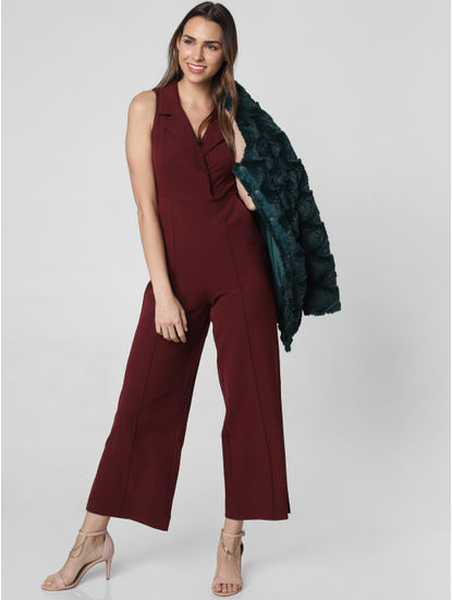 Burgundy V Neck Jumpsuit