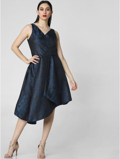 Blue Jacquard Asymmetric Dress
