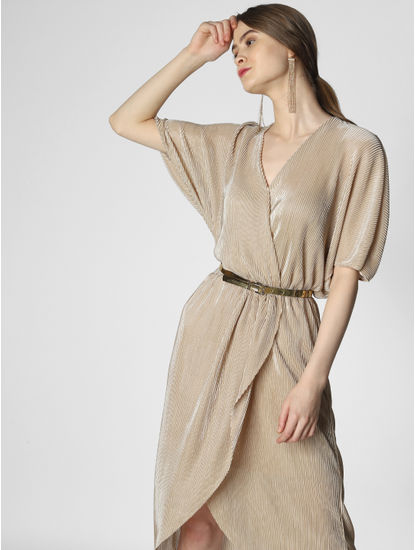 Beige Wrap Midi Dress