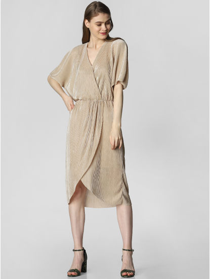 Beige Wrap Midi Dress