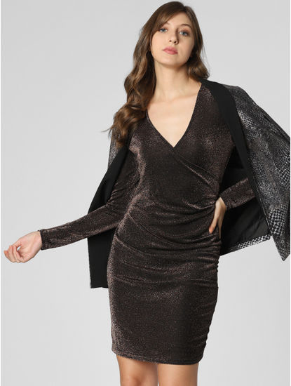 Dark Brown Shimmer Bodycon Dress