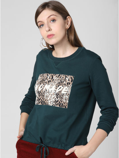 Green Animal Print Patch Sweatshirt