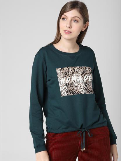 Green Animal Print Patch Sweatshirt