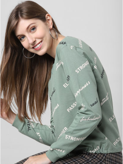 Green All Over Print Sweatshirt