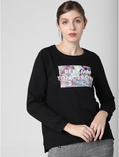 Black Dream Tomorrow Print Sweatshirt