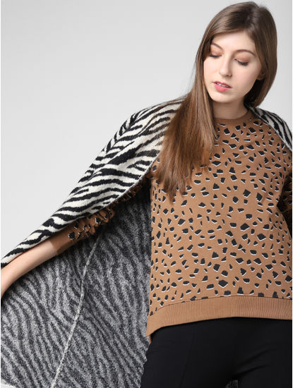 Brown All Over Print Sweatshirt