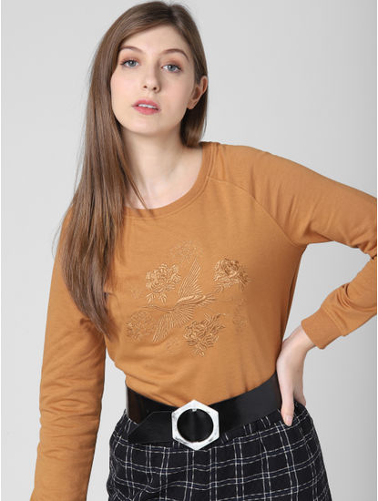 Light Brown Embroidered Sweatshirt