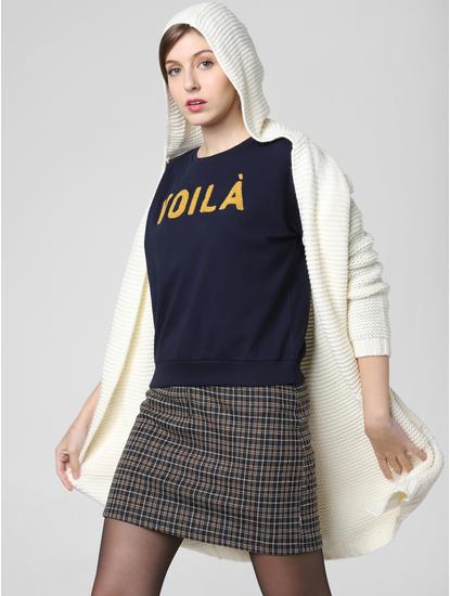 Navy Blue Voilà Print Sweatshirt
