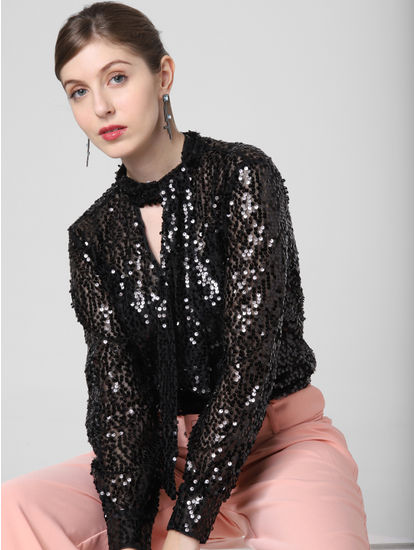 Black Sequined Pussy Bow Top