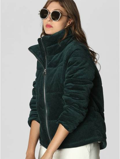 Green Ribbed High Neck Jacket