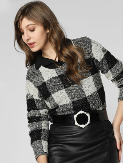 White Check Boatneck Pullover