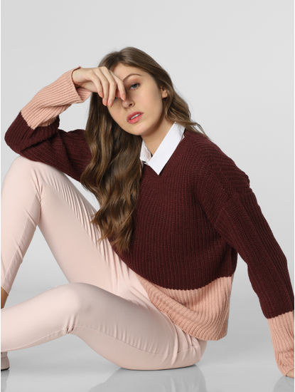 Pink Colourblocked Ribbed Pullover