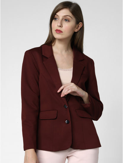 Burgundy Double Button Blazer