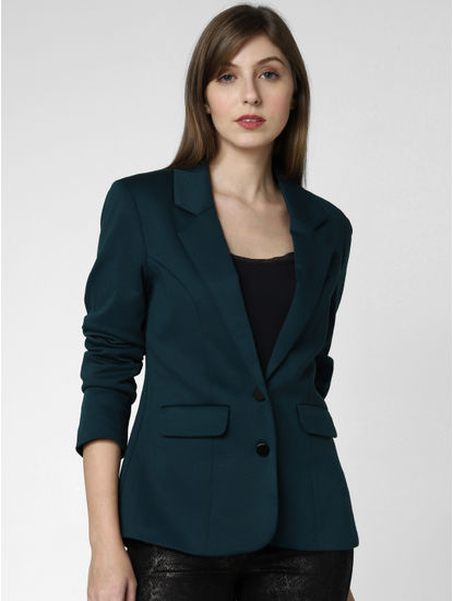 Green Double Button Blazer