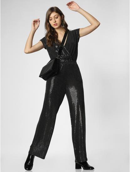 Black Sequin Embellished V-Neck Jumpsuit