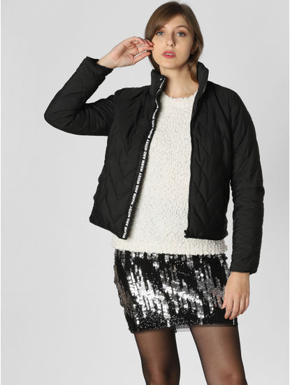 Black Text Print Puffer Jacket