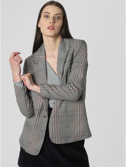 Grey Check Single Button Blazer
