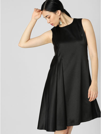 Black Asymmetric Fit & Flare Dress