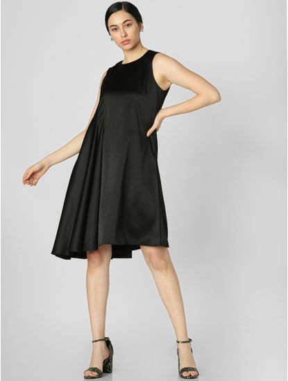 Black Asymmetric Fit & Flare Dress