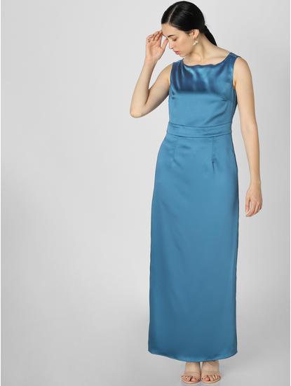 Blue Cowl Back Maxi Dress