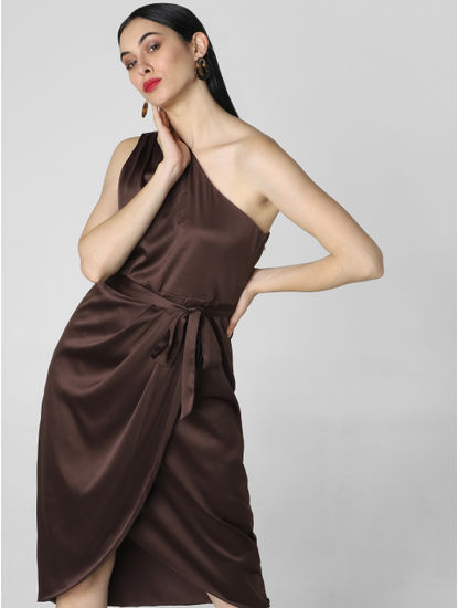 Dark Brown Satin One Shoulder Dress