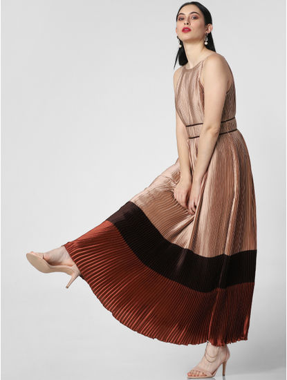Brown Pleated Colourblocked Maxi Dress