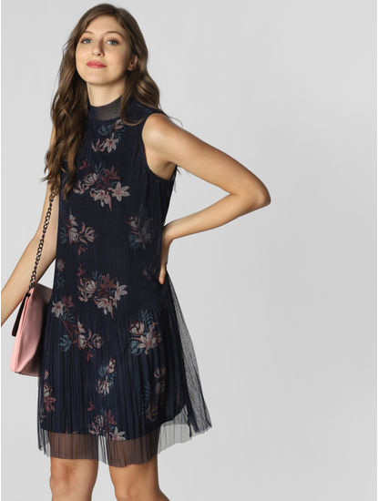 Navy Blue Floral Pleated Shift Dress