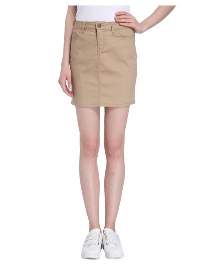 Tan Denim Skirt