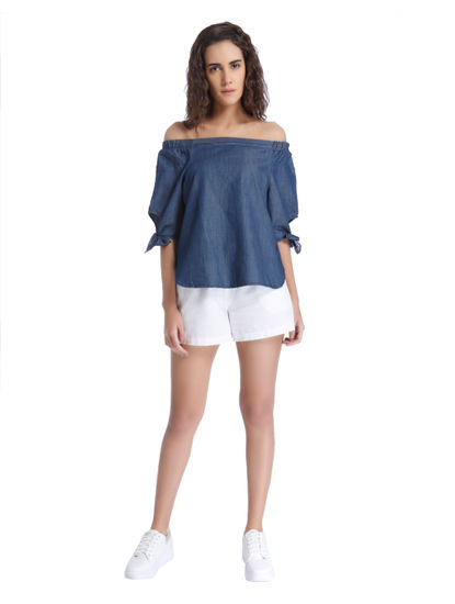 Dark Blue Chambray Top with Knotted Sleeves