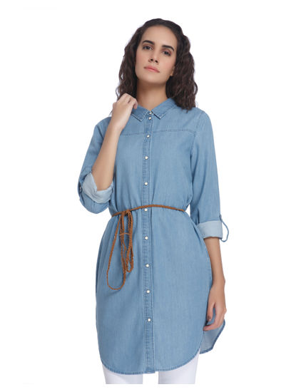 Light Blue Solid Regular Dress