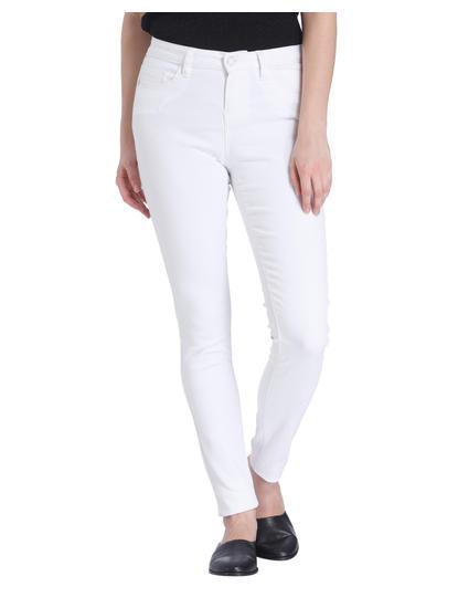 White Regular Waist Slim Jeans