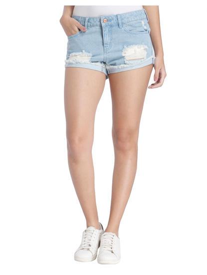 Light Blue Distressed Denim Shorts