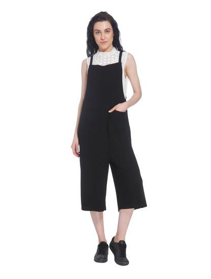 Black Solid Denim Jumpsuit