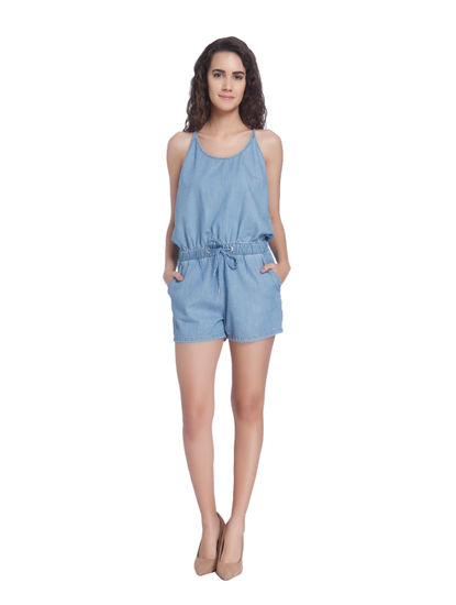 Blue Chambray Short Playsuit