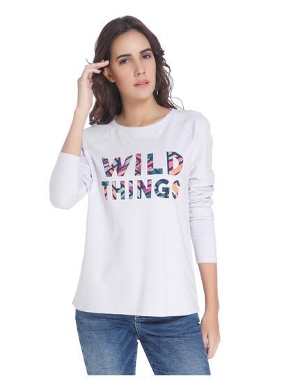 Purple Text Graphic Sweatshirt