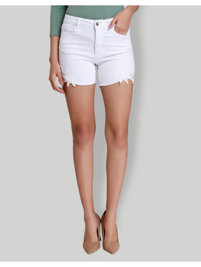 White Mid Rise Slim Fit Crochet Detail Shorts