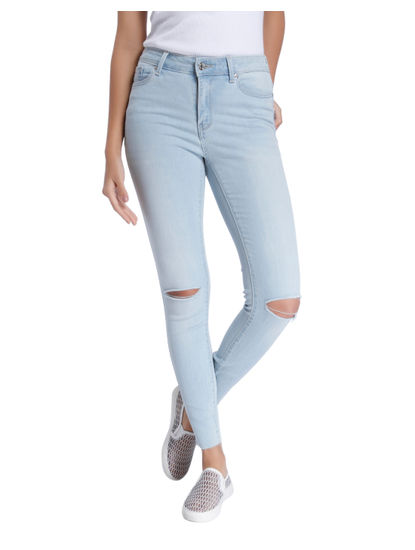Knee Cut Ankle Length Light Blue Jeans